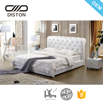 Order Crystal Tufted High Headboard White Leather Diamond Bed