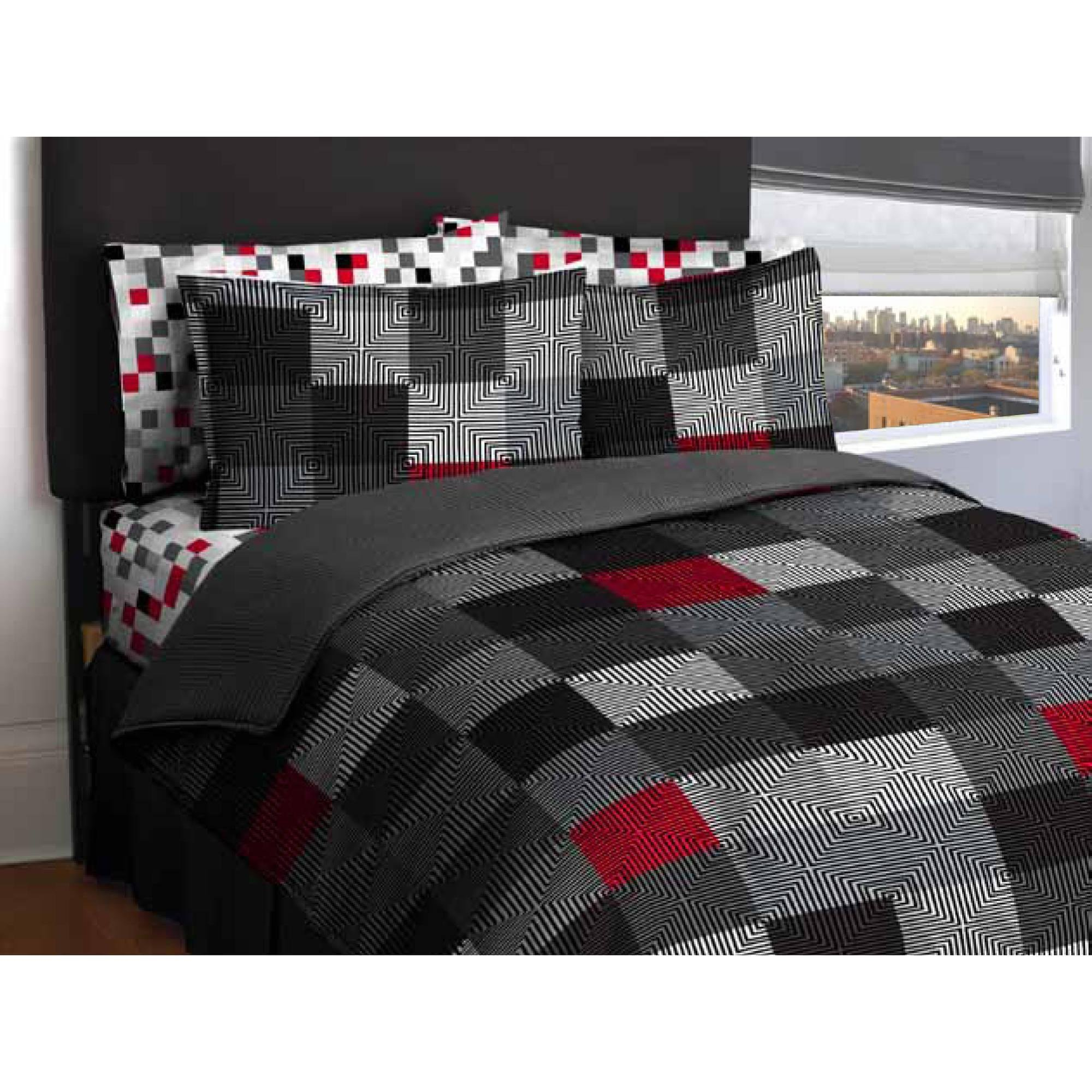 Ln Twin size Teen Boys Red,Gray, White, Black Geo Blocks comforter with sheet set, Bed in a Bag Bedding Set (Twin)