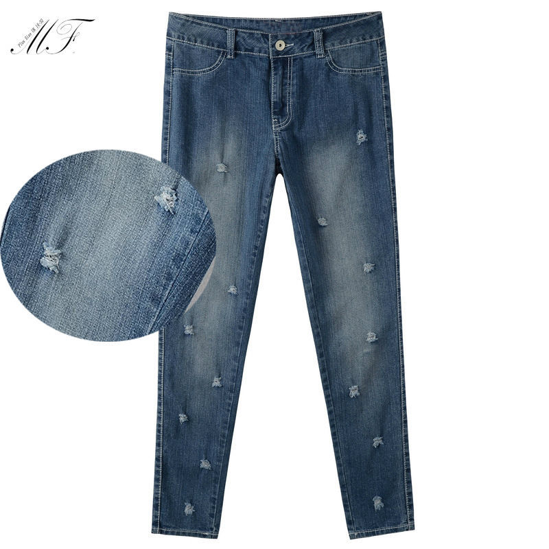187906fee5a Summer Style 2015 High Waist plus Size Jeans Women Skinny Pencil Pants Denim  Ripped Brand Jeans With Holes For Woman 1617