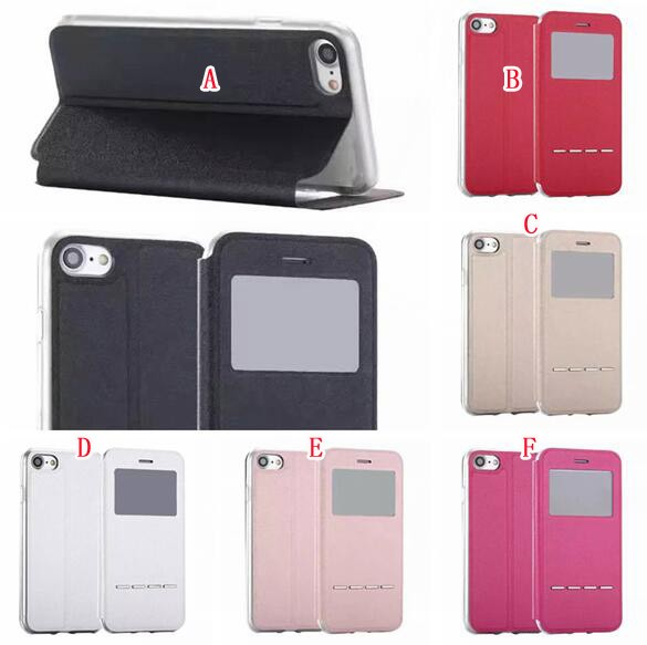 Flip Wallet Leather Pouch View Smart Touch Case For Samsung Galaxy S8 Plus A3 A5 A7 J5 J7 Google Pixel XL Cover 100Pcs