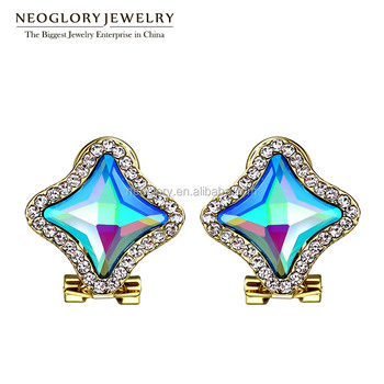 Promotional Ombre Star Shaped Crystal Real Gold Plated Zinc Alloy Earrings With Rhinestones For Whole
