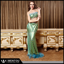Wholesale Fish Scale Lingerie Green Metallic Sexy Mermaid Costume