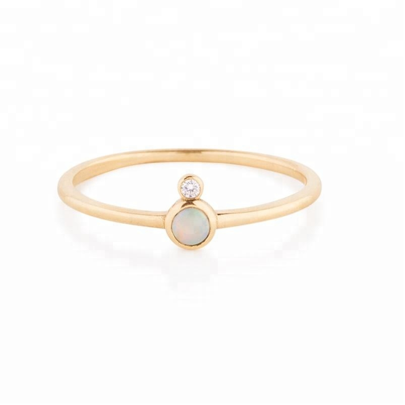 Delicate 14K gold plated CZ 925 Italian silver synthetic opal ring jewelry фото