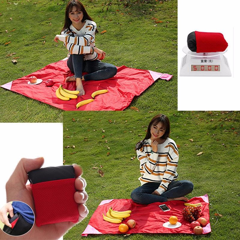 Waterproof Nylon Compact Outdoor Garden Camping Beach Picnic Pocket Blanket Mat With Pouch Portable 150 x 110cm