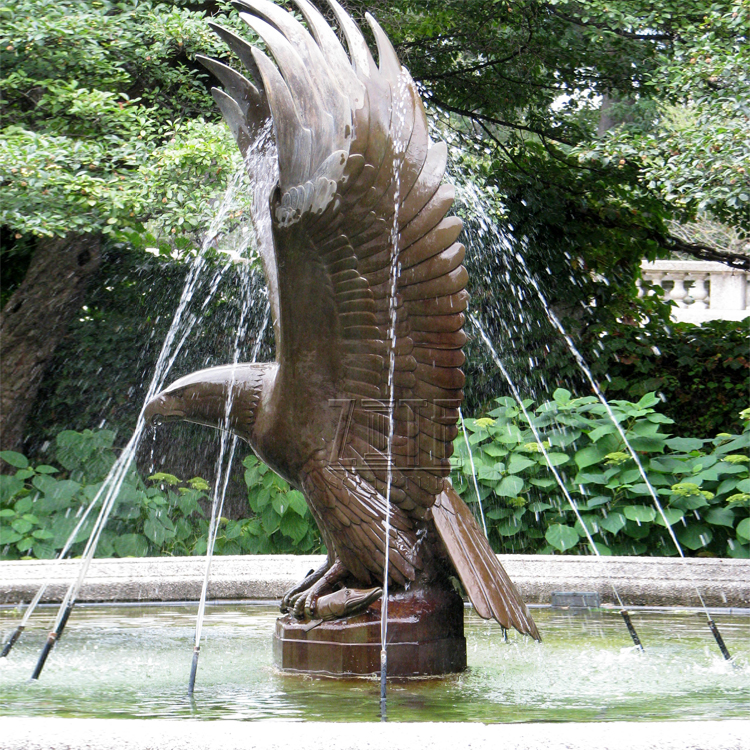 Outdoor tuin grote metalen messing brons eagle fontein sculptuur