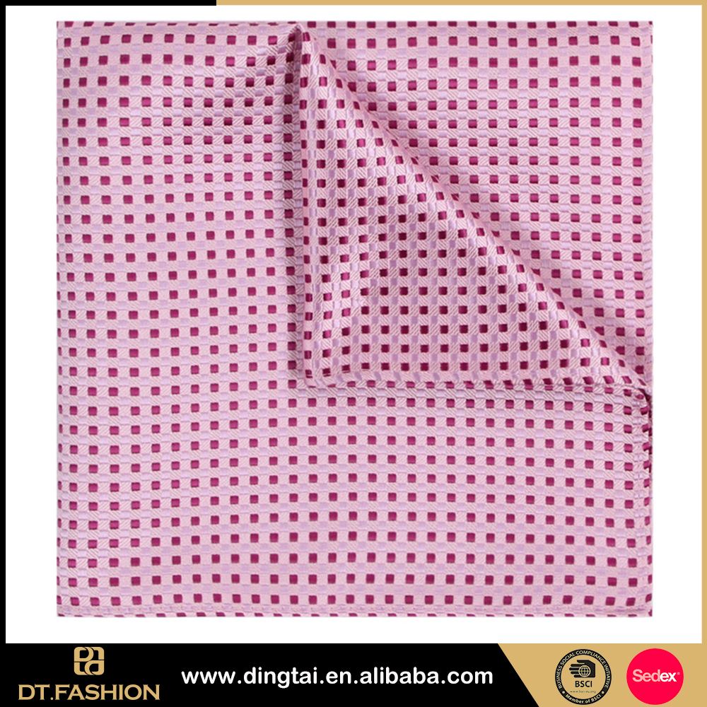 2016 super value wholesale pocket square navy hanky with pink dot
