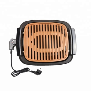 Portable and Nonstick Copper Coated Smokeless Electric Indoor BBQ Grill 1000W