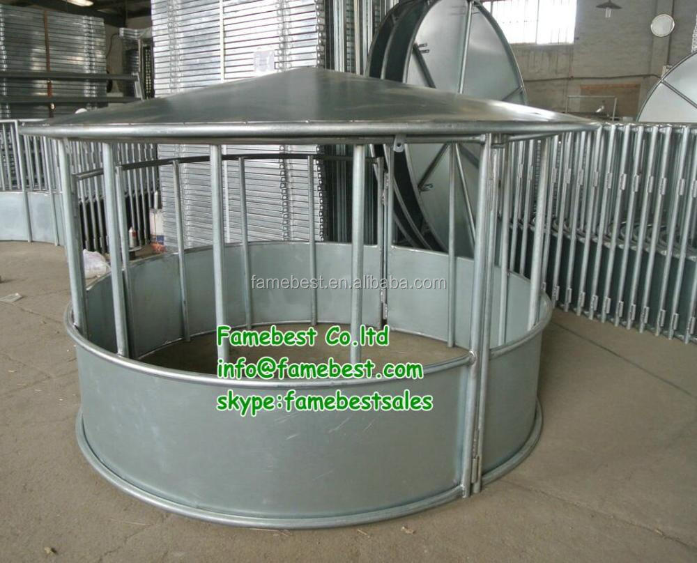 Heavy duty round bale hay roof cover feeders in galvanized
