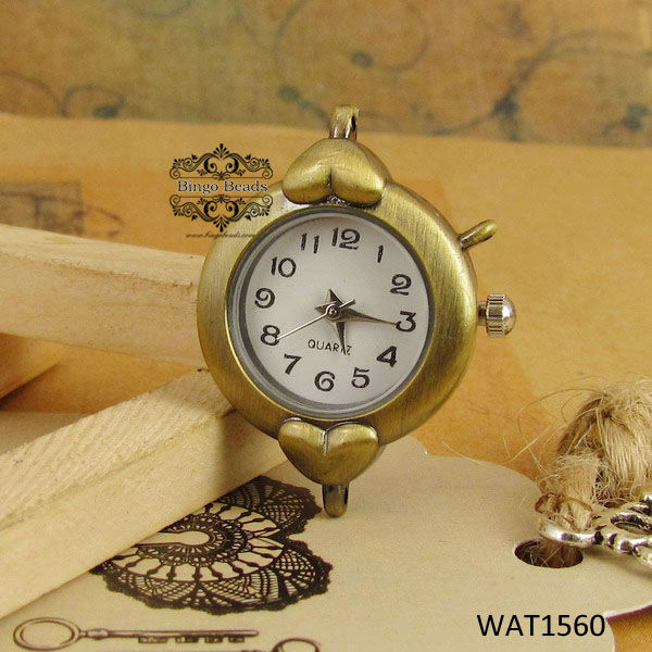 Cute Heart Charm Antiqued Bronze Watch Face For Braclet Watch Part