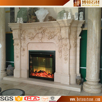 European Royal Floral design hand carving flower decoration marble fire place surround 2 sided electric fireplace