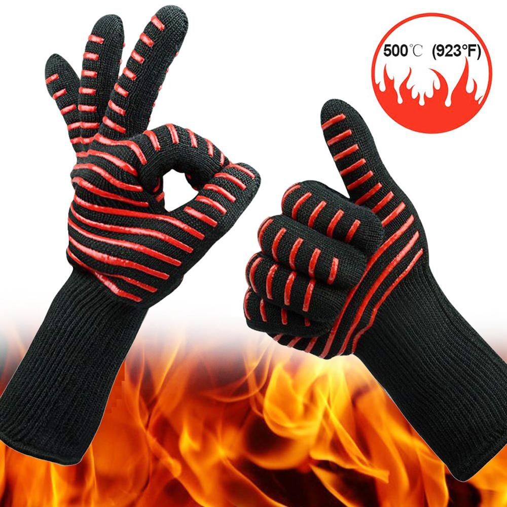 Professional Fire Proof Silicone heat resistant oven mitts bbq grill cooking gloves