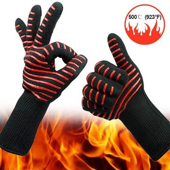 a16c342aa0f7 Professional Fire Proof Silicone heat resistant oven mitts bbq grill  cooking gloves