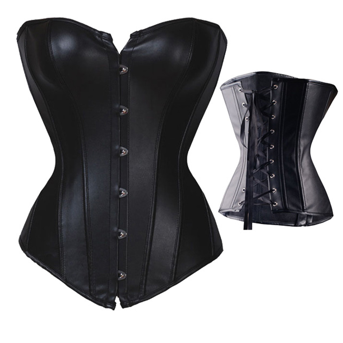 39a996e0a Get Quotations · New Fashion Size S-6XL Womens Faux Leather Body Shaper  Boned Overbust Sexy Corset Bustier