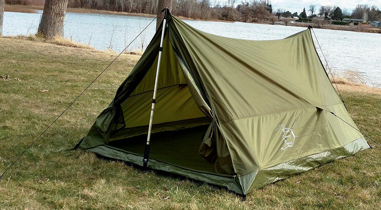 Trekking Pole Backpacking Tent Combo Pack, Includes Aluminum Trekking Poles, Ultralight Backpacking Tent, and Ultralight Aluminum Tent Stakes