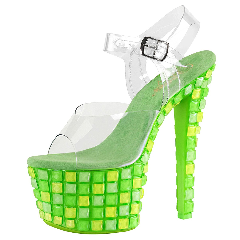 f19749a9d Get Quotations · Summitfashions Womens High Heels Sandals Neon Green Shoes  UV Blacklight Reactive 7 Inch Heels