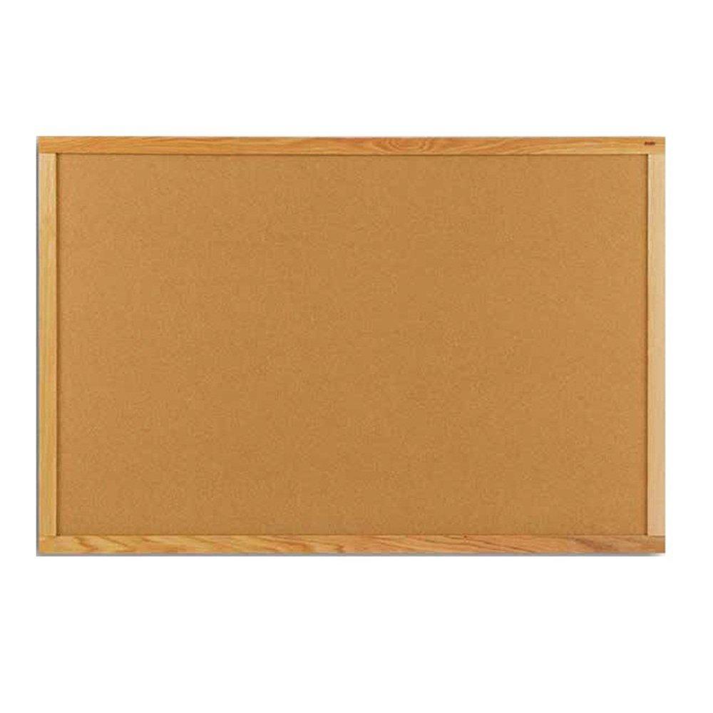 "Marsh 33-1/2""x 45-1/2"" Pacific Vinyl Bulletin Board Oak Wood Trim"