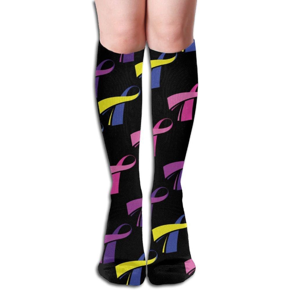 e5e387a695 Get Quotations · Unisex Grunge Ribbon Breast Cancer Awareness Compression  Socks-Graduated Compression Knee High Legging Socks