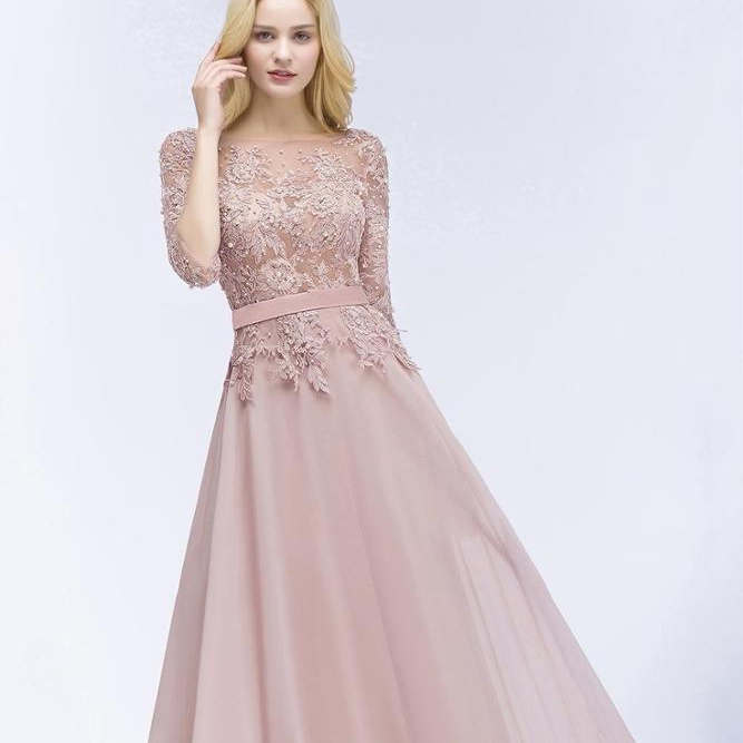 ZH0770X 2019 New Designer Blush Pink Long Prom Dresses with Half Sleeves Beaded Appliqued Cheap Wedding Party Gowns фото