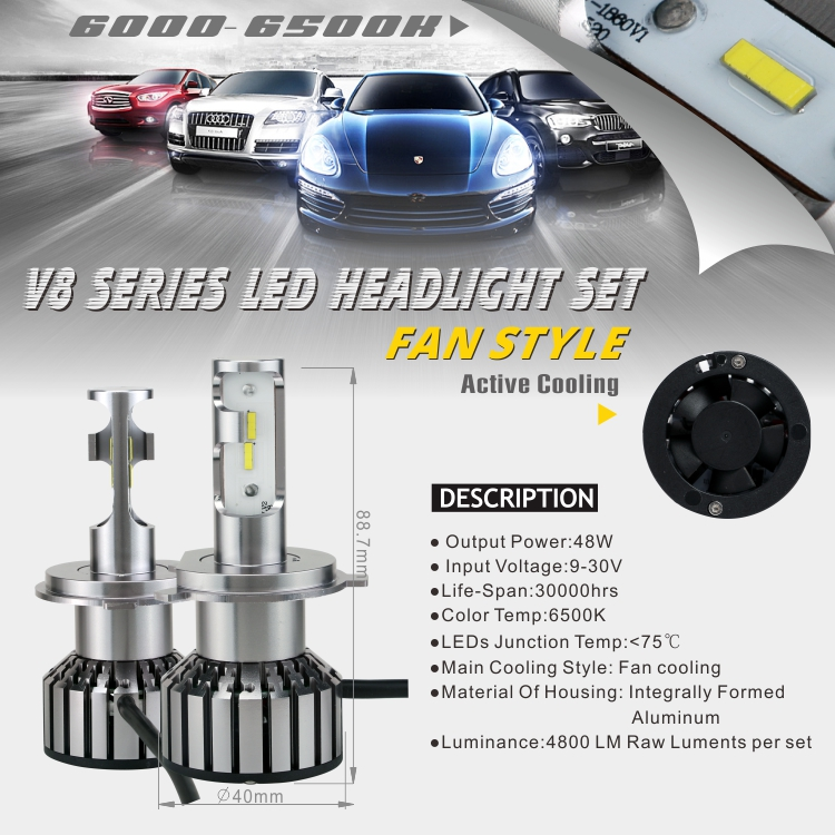 fast delivery led headlight headlamp bulbs led conversion kit with high/low beam H4 for car and truck using