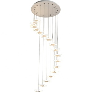 Simple staircase creative personality duplex hall aerial rotating Art LED Modern Chandelier Lights