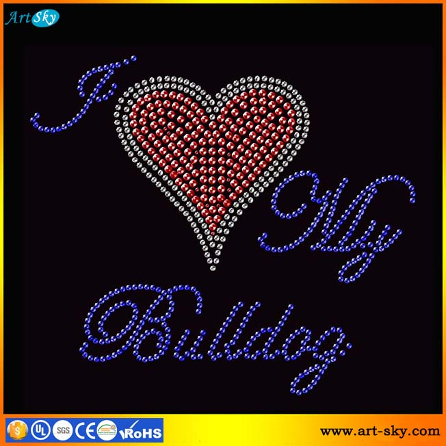 Artsky best price ISO quality nailhead patches I love my bulldog iron on transfer