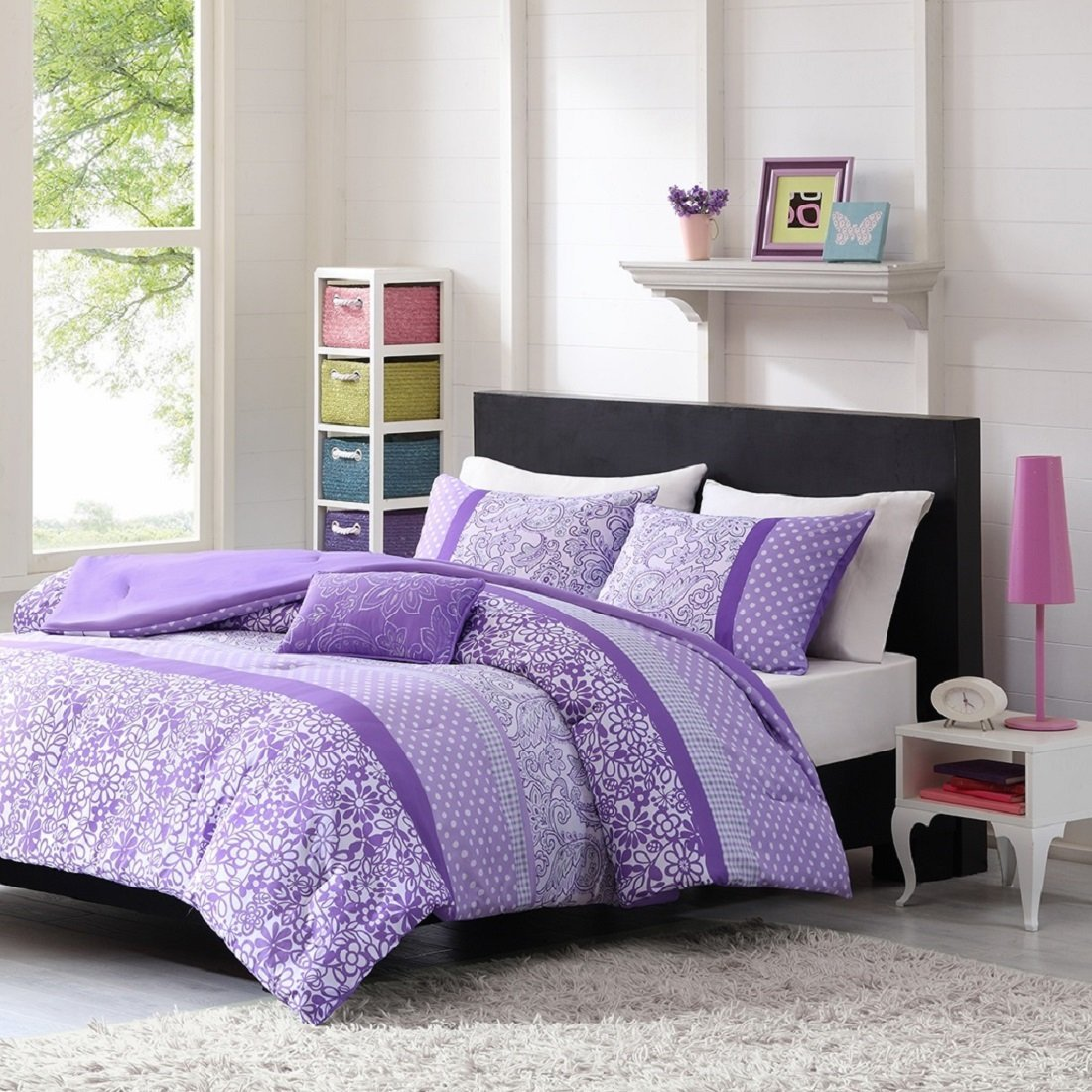 Get Quotations · Teen Girl Comforter Sets Purple Lavender Lilac Bedding  Flower Paisley Polka Dot Design With Embroidered Pillow