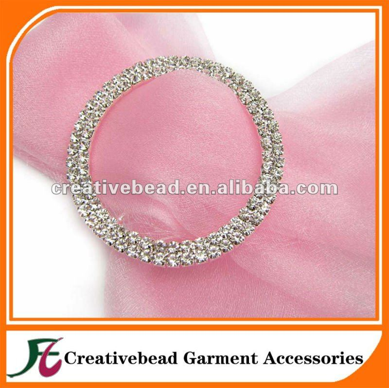 50mm Wedding Round Rhinestone Buckles, 50mm Diamante Rhinestone Buckles Chair Sash Ribbon Slider Wedding Party