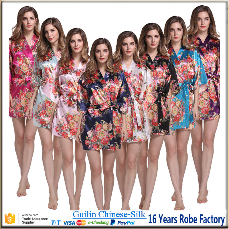 high quality satin floral bridesmaid robes for wedding party