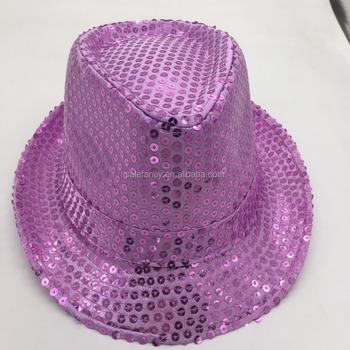 High quality Purple color cowboy hat model Unique top hats Adult Sequin Top  Hat QHAT- 089e35a7f3dd