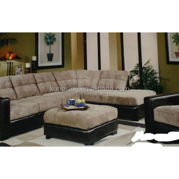 Fabric And Leather Sectional Combination Sofas