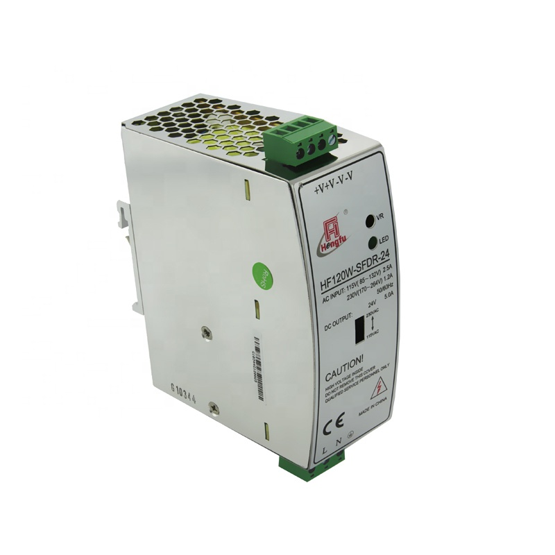 24V 5A Hengfu HF120W-SFDR-24 เอาต์พุต AC DC DIN Rail switching power supply