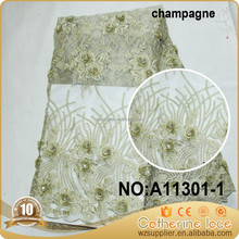 3D applique designs flower embroidery mesh fabric beaded bridal