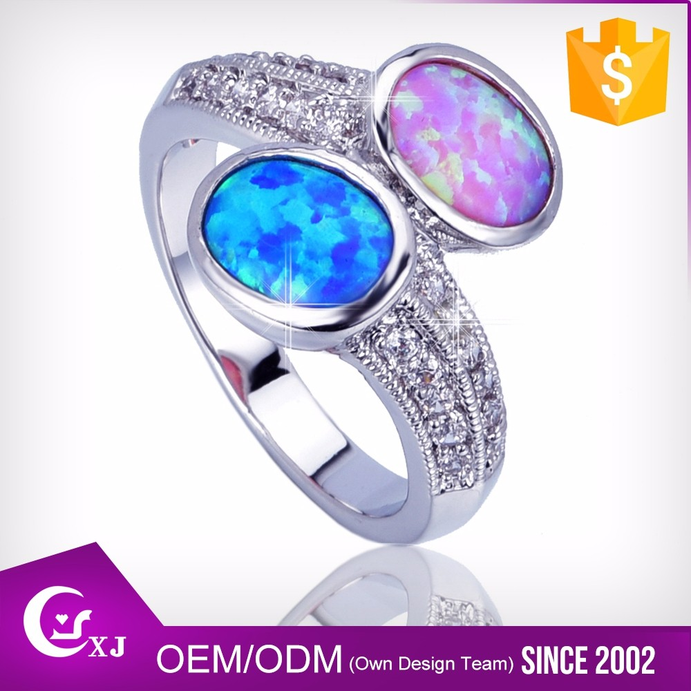 Cubic Zircon Customized Logo Printed Australian Opal Ring