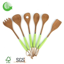 Eco-friendly custom printed wooden cooking spoon spatula, wooden spoon set