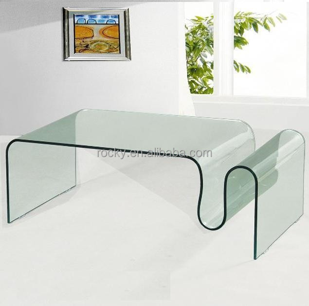 modern 12mm 15mm curved glass coffee table