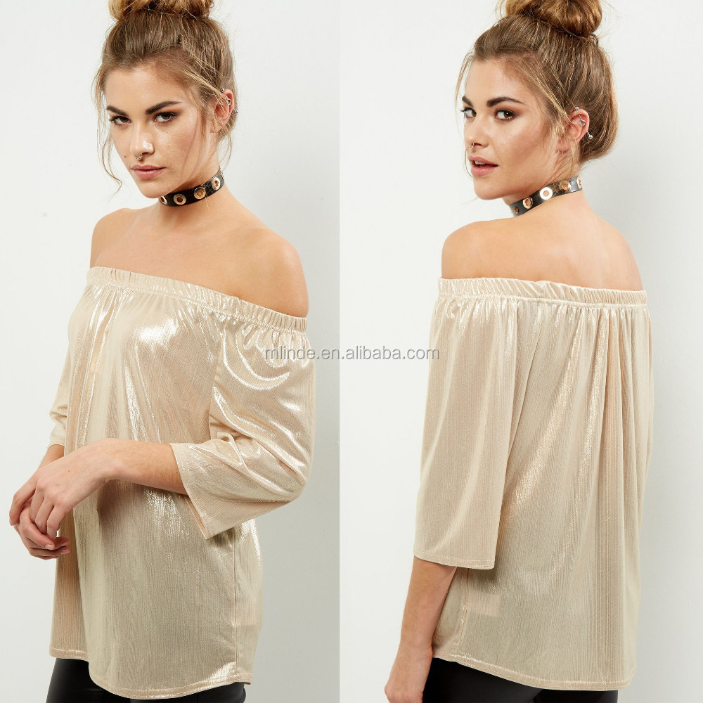 OEM Wholesale Women Fashion Blue Vanilla Silver Metallic Tops Blouses Off the Shoulder Tops Blouses for Ladies Sexy Clothing