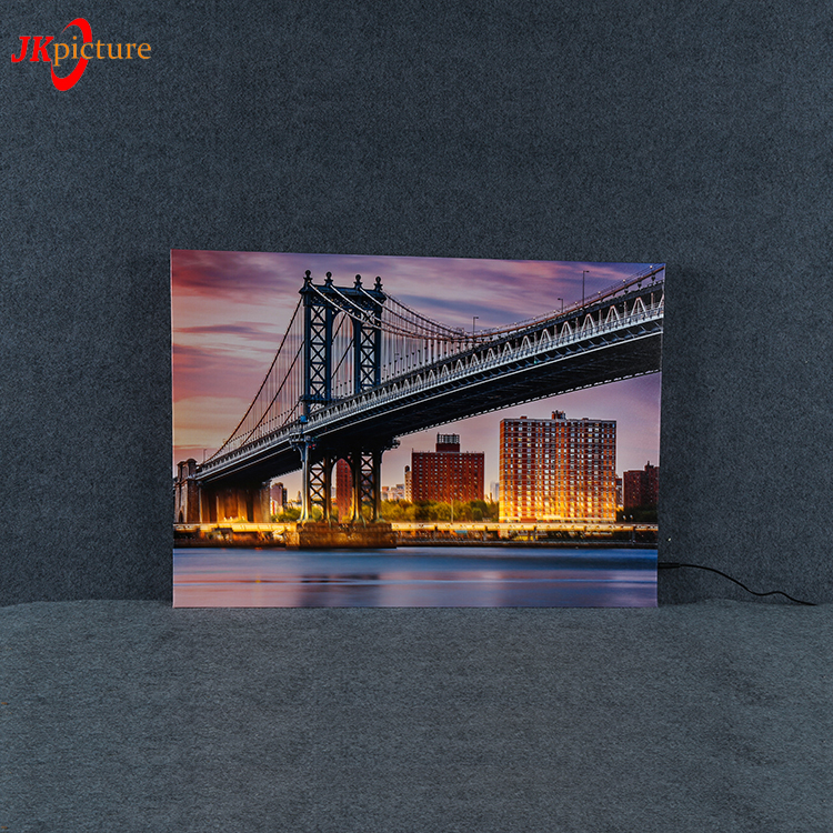 HD printed Sunset Harbour Bridge Night artwork wall decorative picture with led light,light up picture