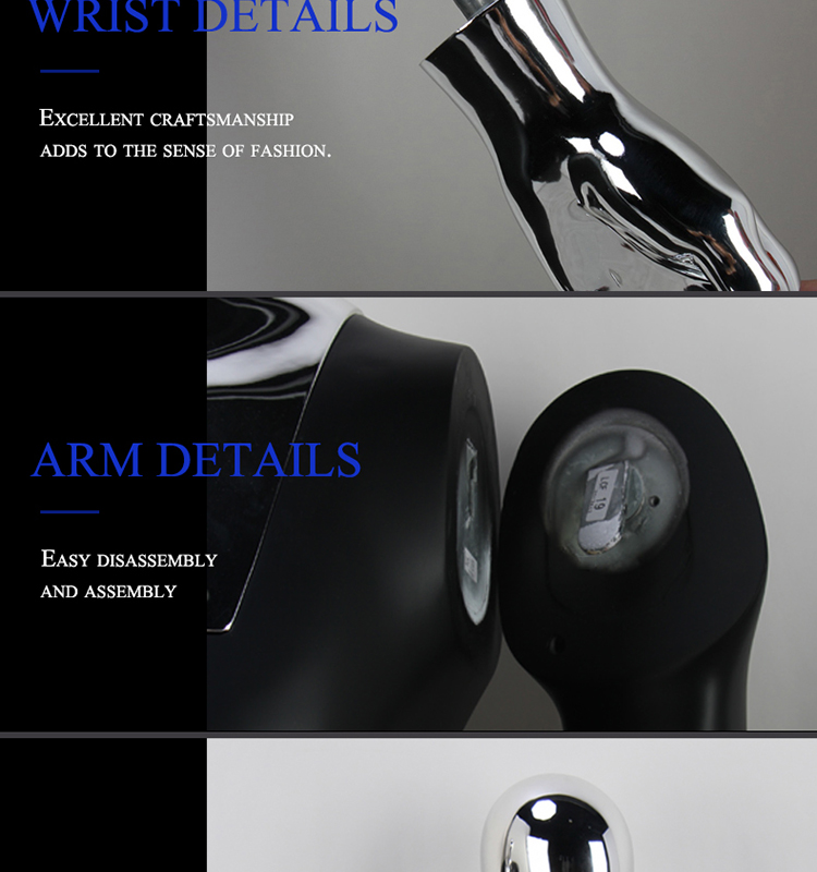 Customized wholesale fiberglass half body male torso mannequin with chrome hand head