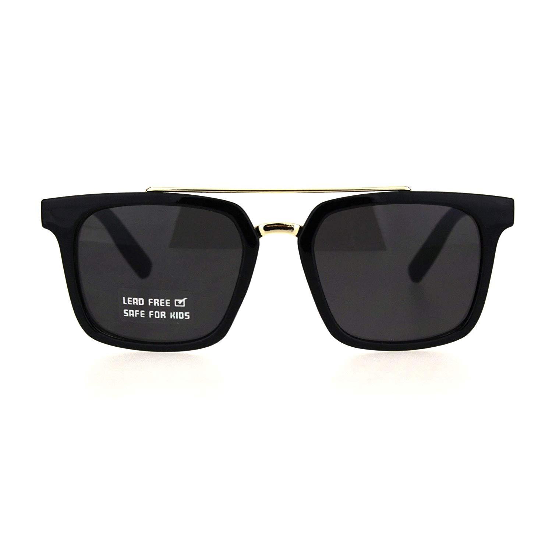 b5afc97b82 Get Quotations · Kids Size Mod Horn Rim Flat Top Double Metal Bridge  Fashion Sunglasses