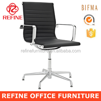 Black Modern Executive Leather Office Swivel Chairs Without Wheels RF S076E