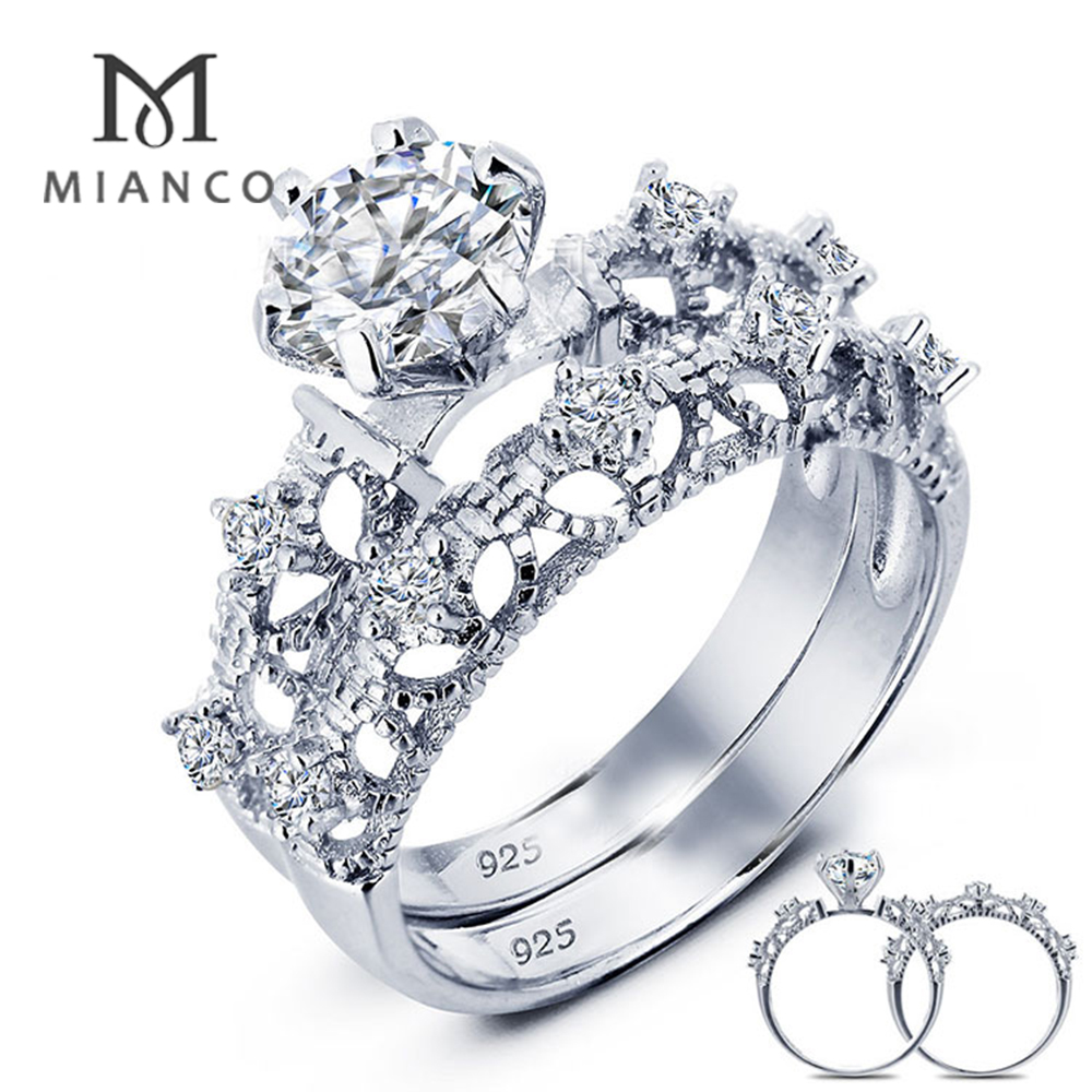 Mianco Wholesale factory sterling silver wedding and engagement ring set CZ MR53S