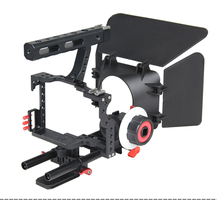 YELANGU DSLR Camera Cage Kit Rig With Matte Box And Follow Focus For GH4/ A7S