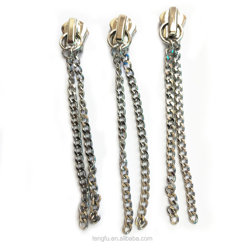Fashion custom chain shape zipper puller slider widely used on garments/handbags/wallets
