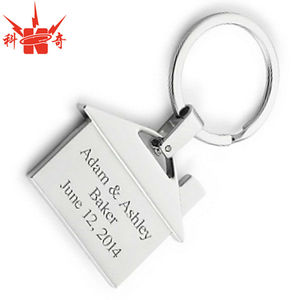 Laser Polished First Home Promotional Metal House Keychain
