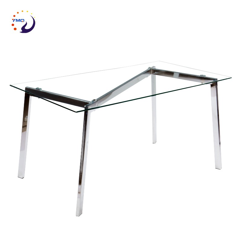 simple design European style chrome leg dining table glass top