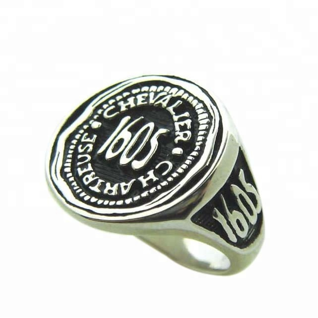 Jewel custom 316l stainless steel mens signet <strong>ring</strong> with deep logo design