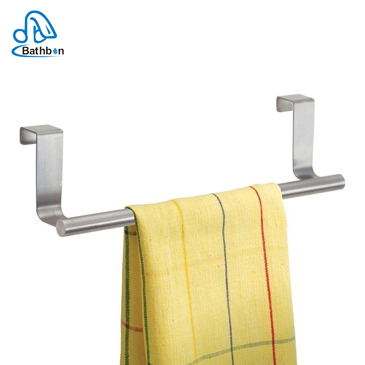 Stainless steel Over-the-Cabinet Kitchen Dish Towel Bar 9'' Holder for Household