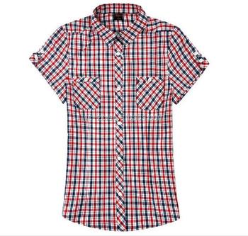 Fashionable Check Shirts For Girls Short Sleeve Plaid Shirts Women