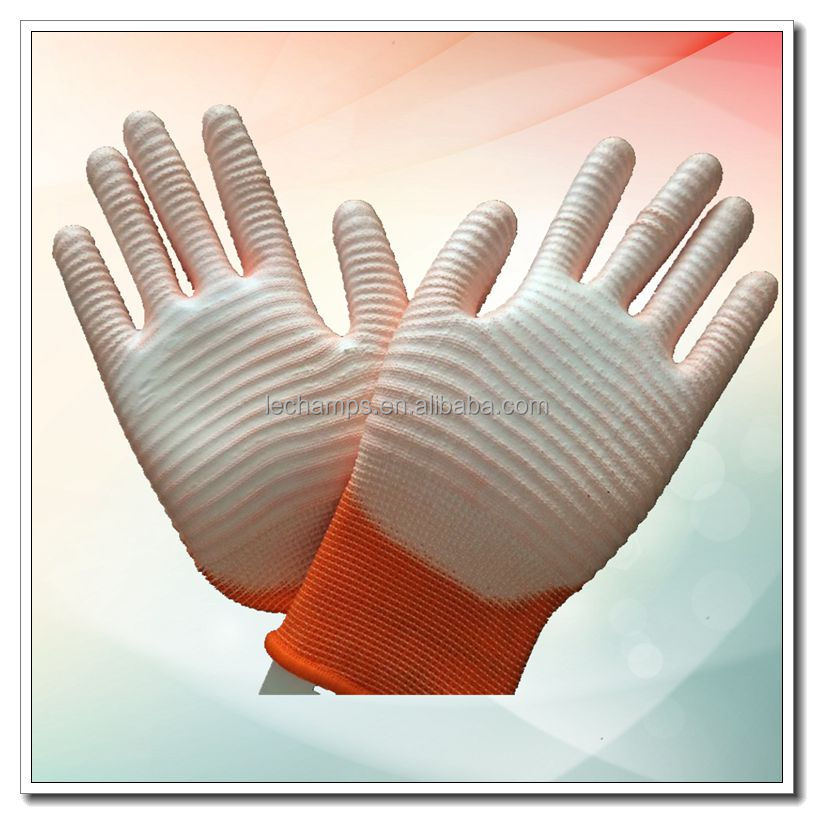 High Quality Zebra Style Knitte Glove Safety Hand Glove with White PU Coated
