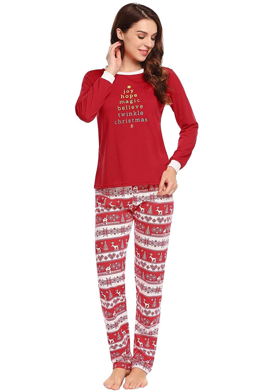 get quotations langle womens long cotton christmas pajamas set with flying reindeer pants s xl - Cheap Christmas Pajamas